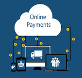 Online Payments Flat Concept Vector Illustration Stock Image