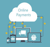 Online Payments Flat Concept Vector Illustration. EPS10 Royalty Free Stock Image