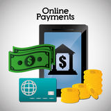 Online payments icons. Graphic design, vector illustration eps10 Royalty Free Stock Photo