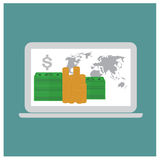 Online payments in laptop concept set vector Stock Photography