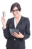 Online payments using wireless tablet pc Stock Image