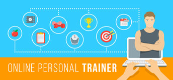 Online personal fitness instructor conceptual infographic illustration. Online personal fitness trainer infographic vector illustration. Concept of web training Stock Photos
