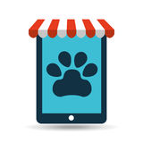 Online pet shop and paw Royalty Free Stock Photos