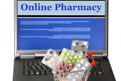 Online pharmacy. Collage in laptop with trolley filled with pills Stock Image