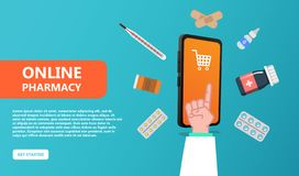 Online pharmacy concept. Healthcare and Medicine vector illustration