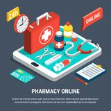 Online Pharmacy Concept. 24 hours online pharmacy service isometric concept with first aid kit and other medical equipment 3d vector illustration Royalty Free Stock Photography