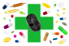 Online pharmacy concept with a Mouse on green cross with medecine, pills, capsules, tablets, medicinal pouch on white. Online pharmacy concept with a Mouse on Stock Photo