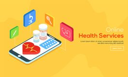 Online pharmacy service concept with illustration of first aid k. It and other medical equipment for Online Health Service website landing page Royalty Free Stock Image