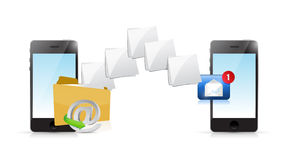 Online phone email sending communication Stock Photography