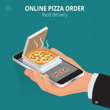 Online pizza. Ecommerce concept - order food online website. Fast food pizza delivery online  service. Flat 3d isometric Stock Photos