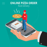 Online pizza. Ecommerce concept - order food online website. Fast food pizza delivery online service. Flat 3d isometric. Vector illustration royalty free illustration