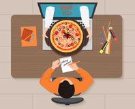 Online pizza order concept illustration. Delivery man hands with pizza from laptop. Royalty Free Stock Images