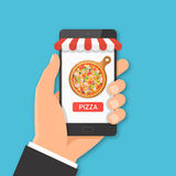Online pizza ordering concept. Royalty Free Stock Images