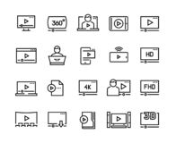 Online player line icons. Video streaming online tutorial digital presentation podcast screen, online video player. Vector symbols set vector illustration