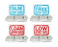 Online pożyczanie ukop Gotówkowych pożyczek ilustracja Obrazy Royalty Free