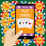 Online poker app  on tablet touch screen, Stock Image