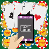 Online poker app  on tablet touch screen, Stock Photography