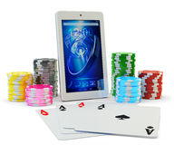 Online poker application, virtual casino and gambling concept Stock Photo