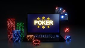 Online Poker Gambling Concept With Glowing Neon Lights, Poker Cards and Poker Chips Isolated On The Black Background - 3D Illustra. Online Poker Gambling Concept vector illustration