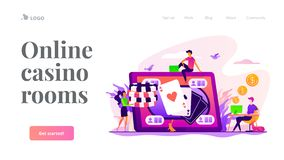 Online poker landing page template. stock illustration
