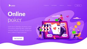 Online poker landing page template. royalty free illustration