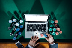 Online poker player Royalty Free Stock Image