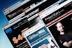 Online poker room web sites Royalty Free Stock Image