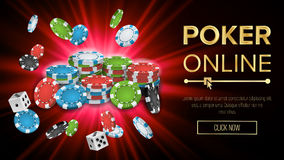 Online Poker Vector. Gambling Casino Banner Sign. Explosion Chips, Playing Dice. Jackpot Casino Billboard, Signage.  vector illustration