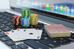 Online poker, virtual casino and gambling concept Royalty Free Stock Photos
