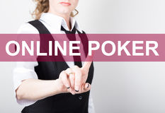Online poker written on virtual screen. technology, internet and networking concept. woman in a black business shirt Royalty Free Stock Photos