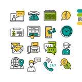 Online poparcie - liniowe ikony ilustracja wektor