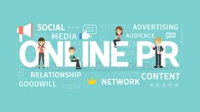 Online PR concept. Online PR concept illustration. Idea of digital marketing, online business and internet Stock Photo