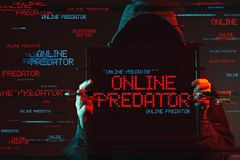 Online predator concept with faceless hooded male person royalty free stock photos