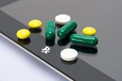 Online prescription. Online treatment concept with medicine and prescription Royalty Free Stock Images