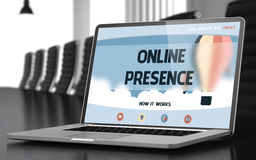 Online Presence on Laptop in Conference Hall. 3D. Stock Image