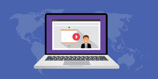 Online presentation. Use video and computer via online network internet Stock Image