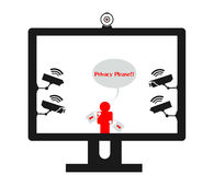 Online privacy violation surveillance cameras Stock Photography