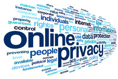 Online privacy in word tag cloud Stock Photo
