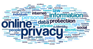 Online privacy in word tag cloud. Online privacy policy in word tag cloud on white background Stock Photos