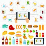 Online-produktbeställning white för shopping för backgraundinternetbärbar dator Arkivfoto