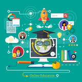 Online professional education. Set icons for education, online education, professional education in flat design style Stock Photo