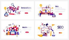 Online programming courses horizontal banner set illustration royalty free illustration