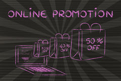 Online Promotion (illustration of bags coming out of a laptop) Stock Image