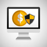 Online protection digital coin. Vector illustration eps 10 Royalty Free Stock Images