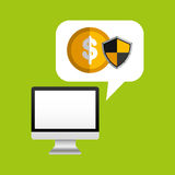 Online protection digital coin. Vector illustration eps 10 Stock Image