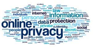 Online prywatność w słowo etykietki chmurze Zdjęcia Stock