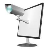 Online prywatności i interneta ochrony pojęcie, przedstawia inwigilaci kamerę wspinającą się na komputerowym monitorze Zdjęcia Stock