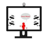 Online prywatności naruszenia inwigilaci kamery Fotografia Stock