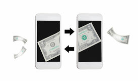 Online przelew pieniędzy internetem na wiszącej ozdobie Zdjęcia Stock