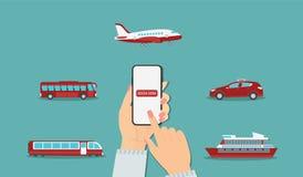 Online przewieziona rezerwacja: samolot, taxi, pociąg, liniowiec, autobus ilustracji